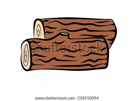 hand drawn, wood logs - stock photo