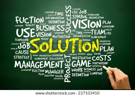 Hand drawn Word cloud of SOLUTION related items, business concept on blackboard - stock photo