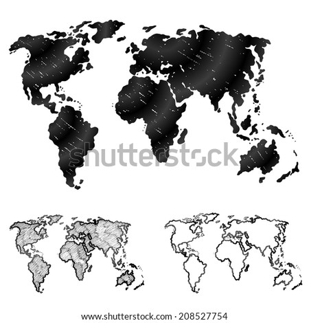 Hand drawn world map in three versions. Sketch of global map in doodle style. Qualitative graphics for geography, mapping, tourism, navigation, cartography, etc - stock photo