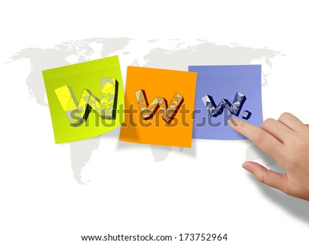hand drawn WWW. on sticky notes and world map background as internet concept - stock photo