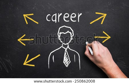 hand draws a person-icon with many career options - stock photo
