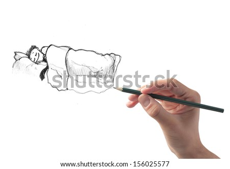 hand draws businessman sleeping safely in the bed