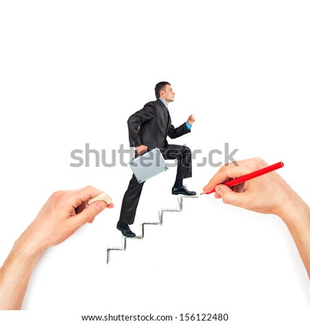 Hand draws stairs with walking businessman on white background - stock photo