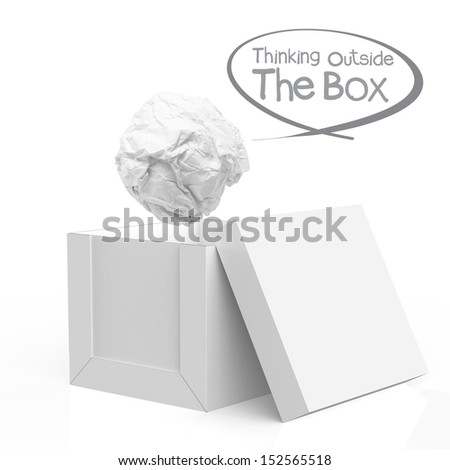 hand draws think outside the box as concept - stock photo