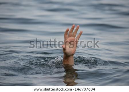 hand drowning - stock photo