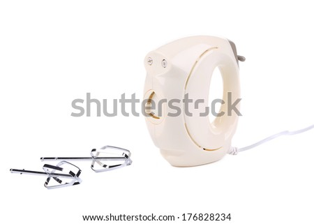 Hand electric mixer. Isolated on a white background. - stock photo
