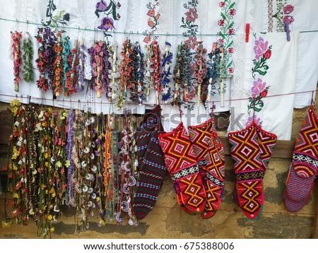 Hand Embroidery Flower Socks Turkish Handicraft Stock Photo Royalty
