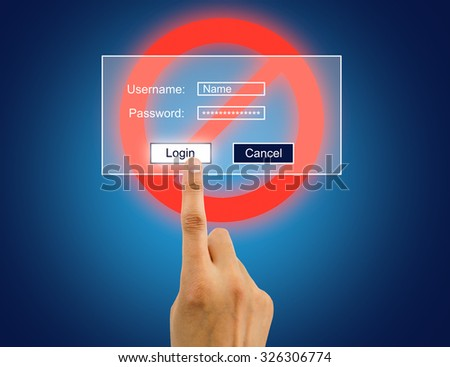 hand enter the password for internet connection to access user desktop wrongly - stock photo