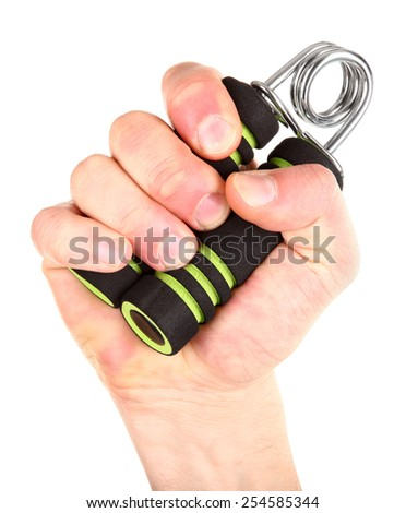 Hand exercise with gripper - stock photo