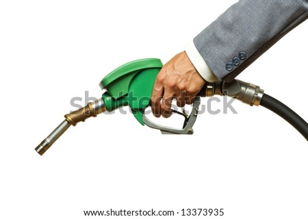 hand filling gas on white close up shoot