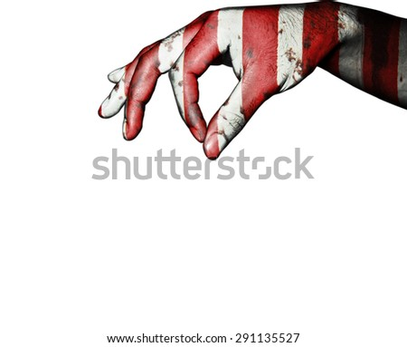 Hand finger for give on usa flag background