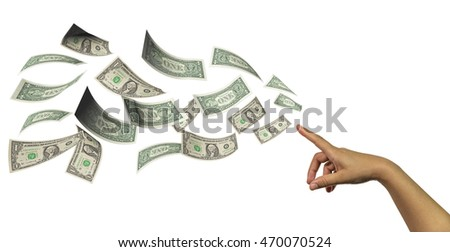 hand, finger , like magnet attracts flying dollars, isolated in white background