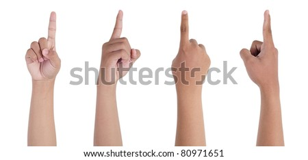 Hand finger pointing isolated on white background - stock photo