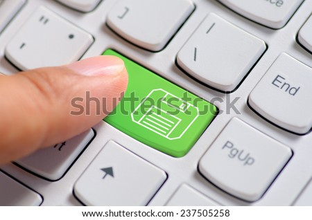 Hand finger press save button