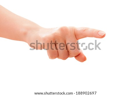 Hand finger presses Isolated