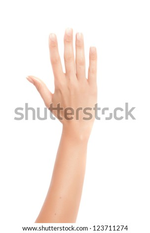 hand fingers numbers in a white background - stock photo