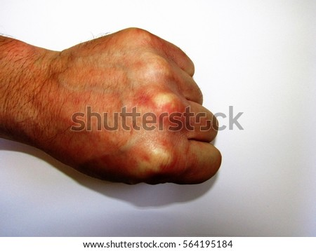 hand fingers on a white background