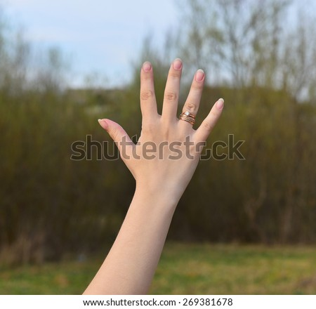hand five fingers - stock photo