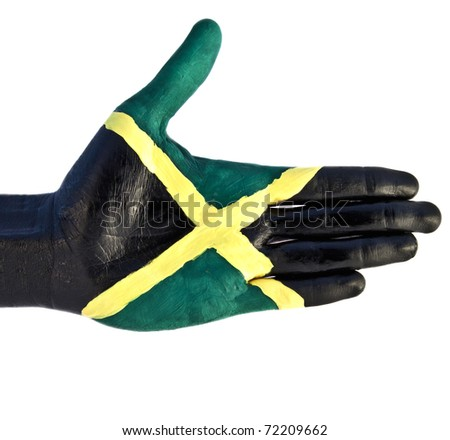 hand flag Jamaica - stock photo