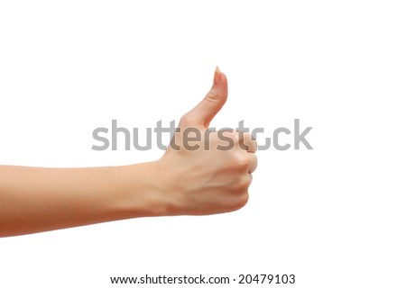 Hand formed in ok sign isolated on white background - stock photo