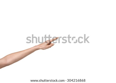 Hand gesture - Arm with finger pointing - isolated on white - stock photo