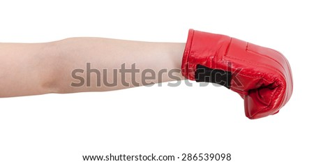 hand gesture - child with boxing glove punches isolated on white background
