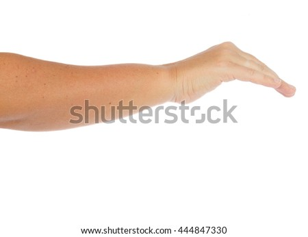 Hand gesture covering something on isolated on white background - stock photo