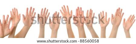 Hand gesture high five - stock photo