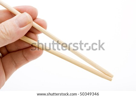 Hand Gesture holding a pair of empty chopsticks to add your own item against white.