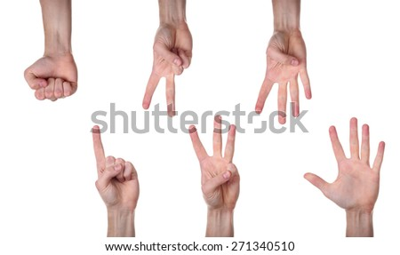 hand gesture isolated on white background