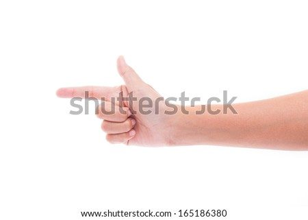 hand gesture isolated over white background