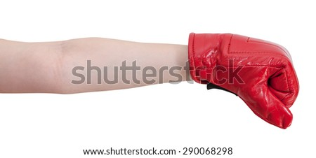 hand gesture - kid with boxing gloves punches isolated on white background