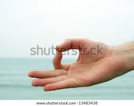 Hand gesture - Mudra - with sea on the background