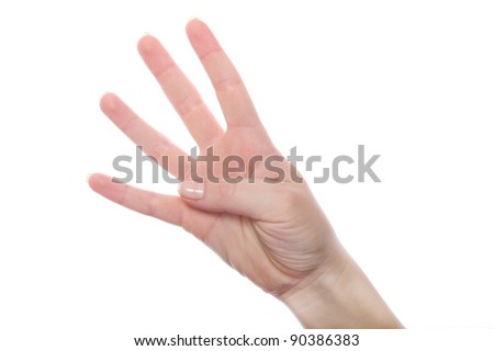 Hand gesture number three closeup. Isolated on white