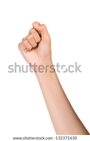 Hand gesture number zero isolated on white background - stock photo