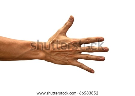 Hand gesture of male isolated - stock photo