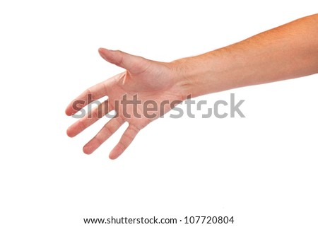 Hand gesture of male isolated on a white background - stock photo