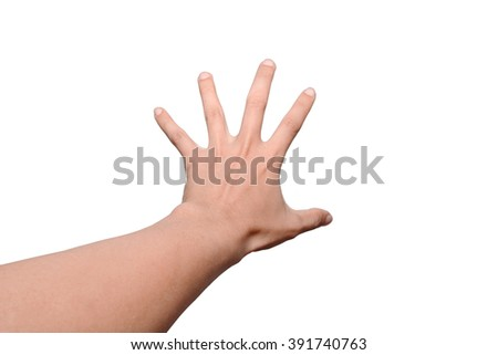 Hand gesture on a white background