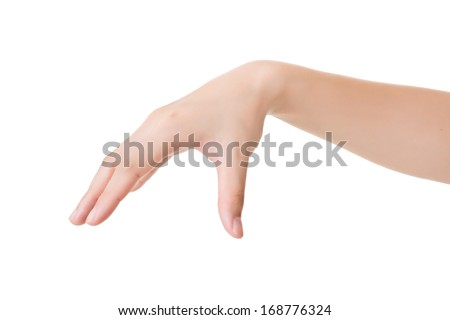 Hand gesture, pick up, isolated on white.