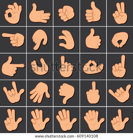 Hand Gesture Sign Set. Cartoon Icons Clip Art