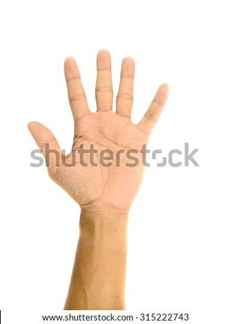 Hand gesture with 5 fingers