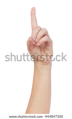 Hand gesture with index finger getting an idea on isolated on white background - stock photo