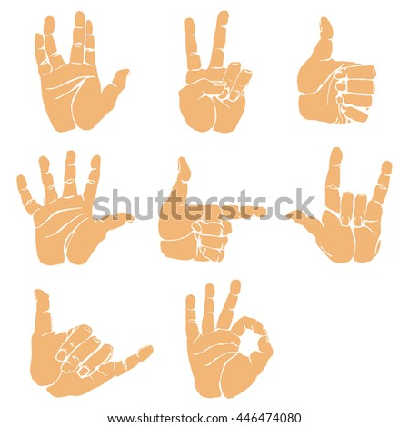 Hand gestures and sign language icon set. Isolated colorful illustration of human hands.