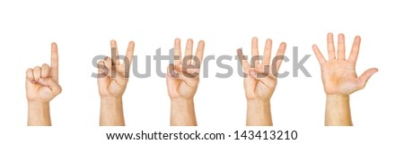 hand gestures counting from 1 to 5, isolated on white