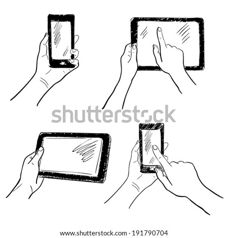 Hand gestures holding smartphone tablet touchscreen sketch set isolated  illustration - stock photo