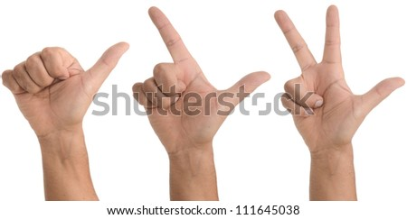 Hand gestures - One two three - isolated on white - stock photo