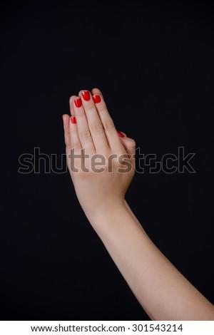 Hand gestures praying - stock photo