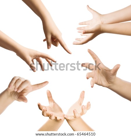 Hand gestures set, isolated in white - stock photo