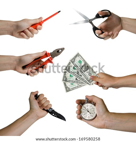 Hand gestures set, isolated on white - stock photo
