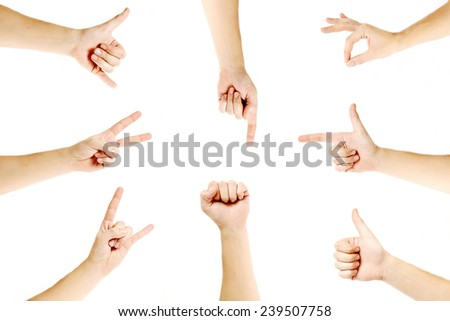 Hand gestures set , Set of various modern hand gesture on white background